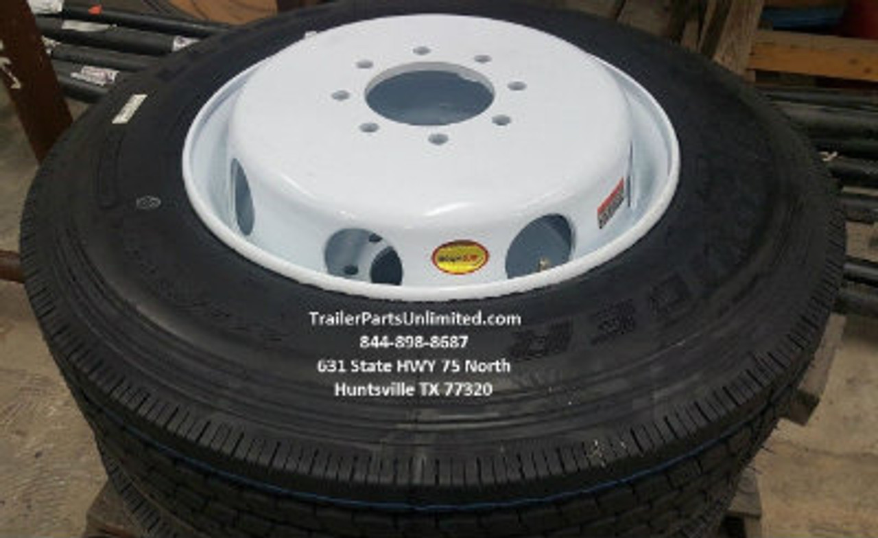17.5 INCH 16 PLY HEAVY DUTY PROVIDER TRAILER TIRE MOUNTED ON 17.5 WHITE MOD DUAL WHEEL 8 ON 6.5