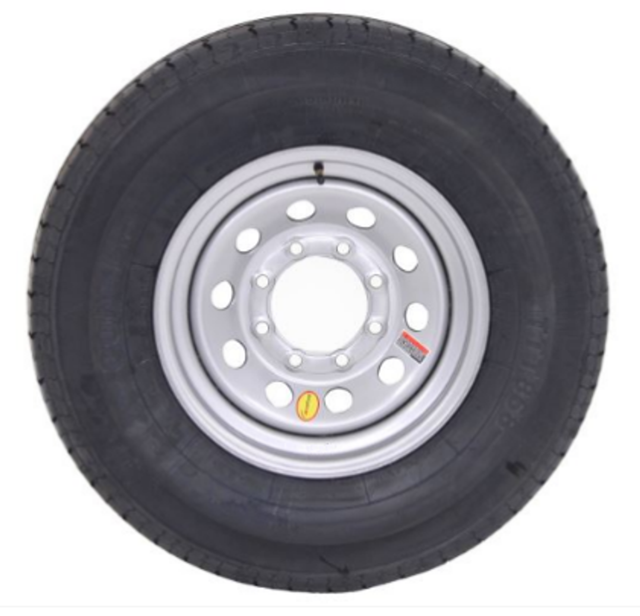 "CONTENDER TIRE, ST235/80R16 10 PLY Contender Radial Trailer Tire mounted on 16"" silver mod wheel 8 on 6.5"