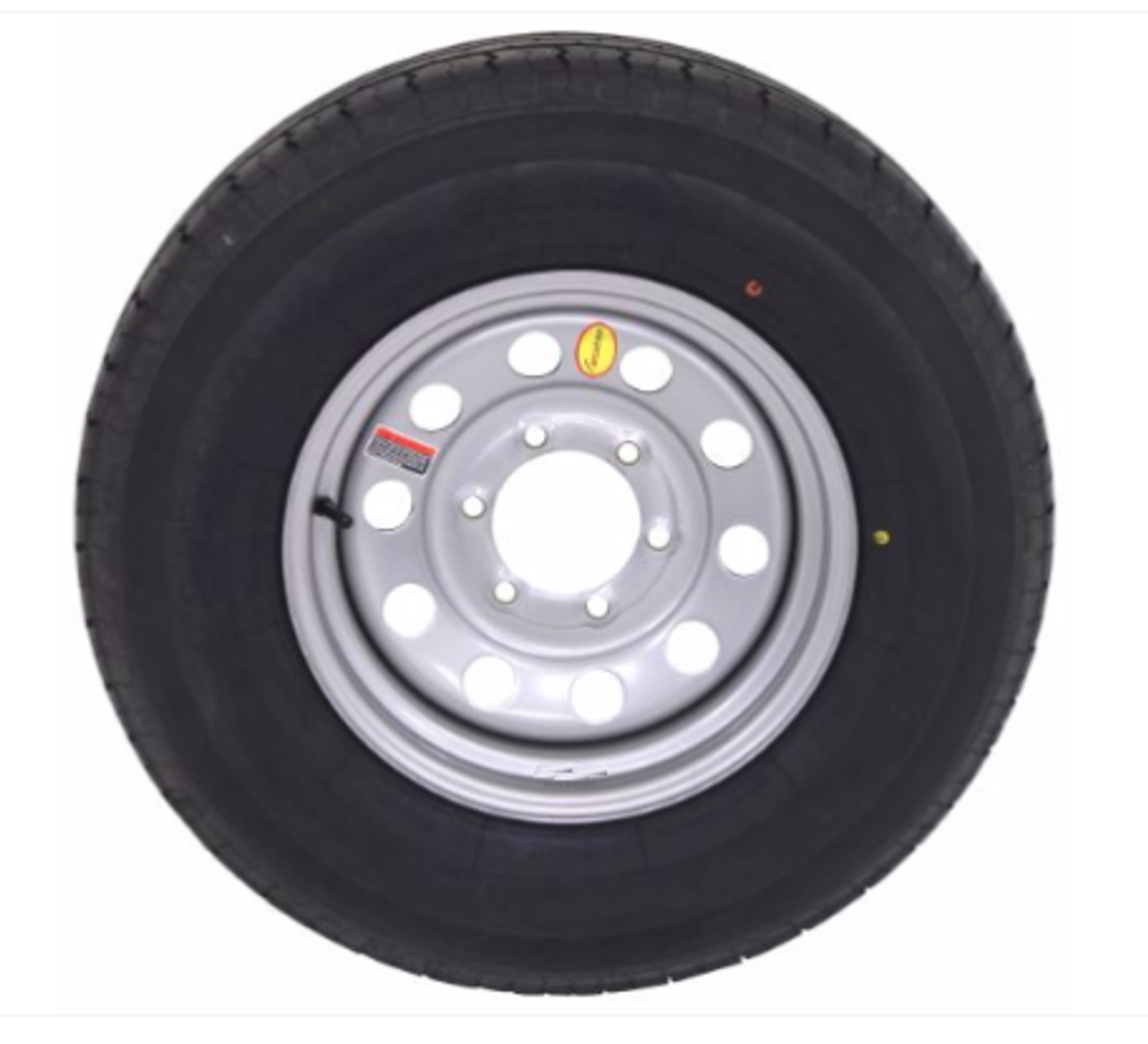 ST225/75R15 10 PLY Contender radial trailer tire mounted on 6 lug silver mod wheels