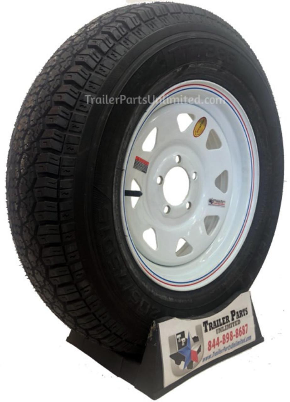 """ST205/75D15 6 Ply Taskmaster Bias Tire on 15""""x5"""" White Spoke Wheel 5x5"""""""