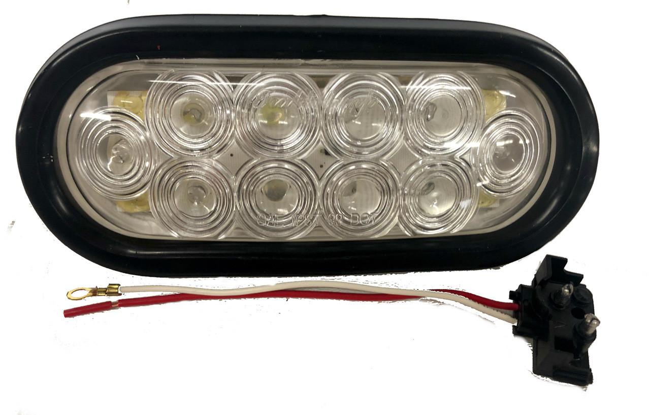 """8045c, 6"""" oval led backup lights w/ Rubber Grommet & 3 Prong Plug 10 LED"""