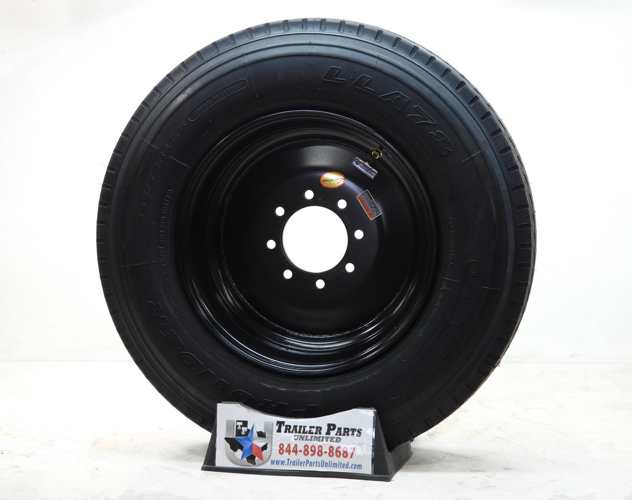 "235/75R17.5 18-Ply Provider All Steel Tire on Black Solid Wheel 8x6.5"" .19os"