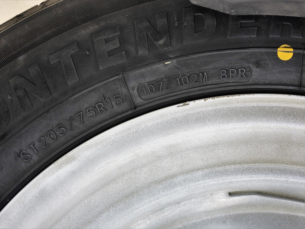 """ST205/75R15 8-Ply Contender Radial Tire on White Mod Wheel 5x4.5"""" NO STRIPES"""