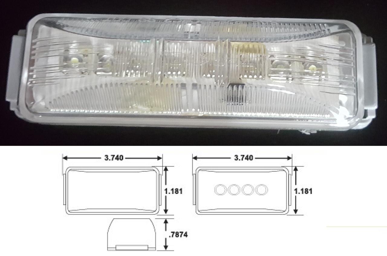 "4"" x 1"" white clear marker strobe led truck and trailer light"