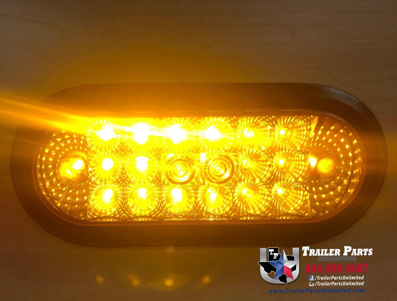 "6"" Oval Amber 20 LED Turn Flashing Strobe Light w/ Reflex, 3 Wire Direct w/ Rubber Grommet"