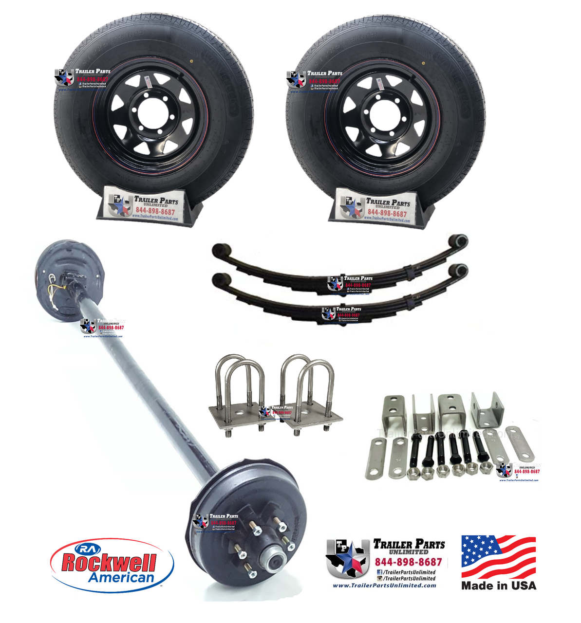 Trailer Double Eye Spring Suspension Kit for 3 Tube 5200 lb Axles