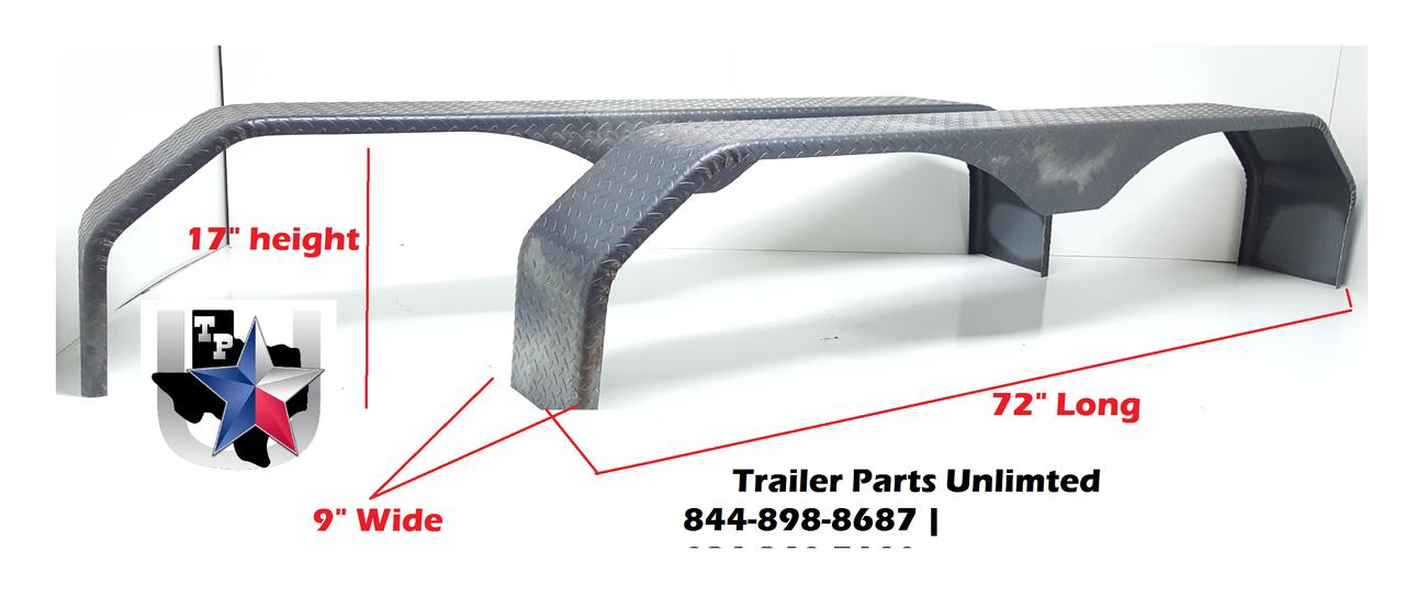 """Tandem Tread Plate Double Broke Tear Drop Steel Trailer Fender 72"""" L x 9"""" W x 17"""" H 14 Gauge"""