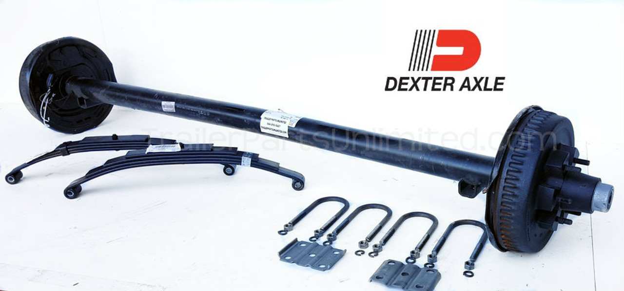 "5200 lbs Dexter Electric Brake trailer axle with 3"" u bolts and 5-Leaf double eye springs"