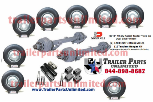 "24k Trailer Kit. 2 - 12k Dexter electric brake axles with all hardware needed to mount to trailer. Bonus (8) 16"" 10ply tires and wheels mounted. Trailer Parts Unlimited"