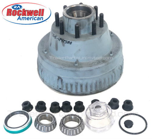 "10K Rockwell Hub / Drum Assembly Oil Bath Electric 4.75"" Hub Piloted w/ bearings, Races, Seals, Oil Cap, & Lug Nuts"