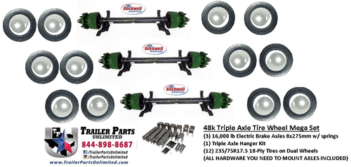 "3) 16000 lb Rockwell American Electric Brake Drum Trailer Axles with springs. 12) 235/75R17.5 18 ply heavy duty trailer tires mounted on silver dual wheels 8x275mm. 1 triple axle hanger kit for 2-1/2"" wide slipper springs"