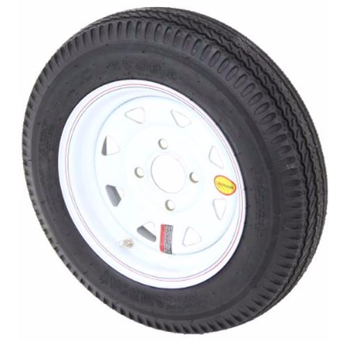"Taskmaster 4.80-12 Bias Trailer Tire with 12"" White Spoke Wheel - 4 on 4 - Load Range C. AS12B4WS"