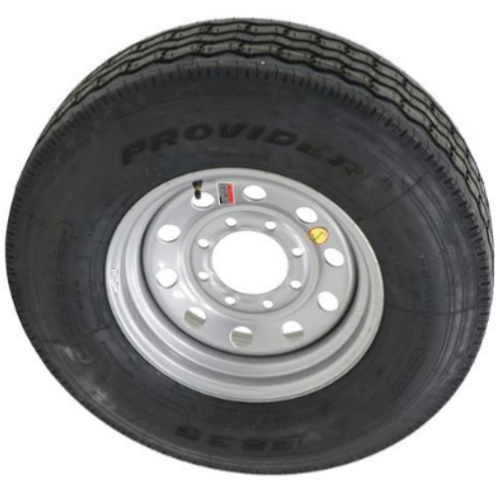 ST235/85R16 14 ply Provider all steel trailer tire mounted on silver mod wheel 8x6.5