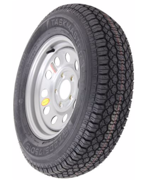 "AS15B5SM, Taskmaster ST205/75D15 Bias Trailer Tire with 15"" Silver Mod Wheel - 5 on 5 - Load Range C"