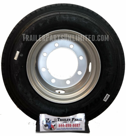 235/75r17.5 18 ply all steel tire on silver dual wheel