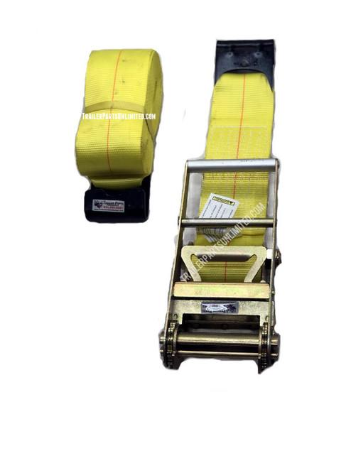 """4"""" x 27' Ratchet Strap Assembly w/ Flat Hooks"""