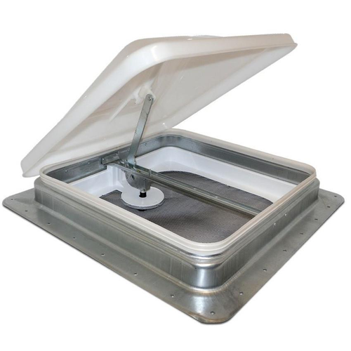 """Radius-cornered, 14"""" x 14"""" low-profile vents have galvanized steel roof flanges to prevent leaks, removable screens and a one piece heavy galvanized steel dome. Vent, Low Profile, 14"""" x 14"""" Galvanized, Top with garnish, 1""""-2.5625"""" Thick Roof, Boxed. mpn# V2110SP-24"""