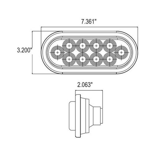 "6"" Oval Amber 10 LED Turn Emergency Strobe w/ Rubber Grommet 3 Prong Plug"