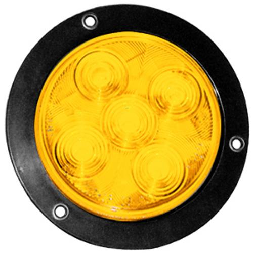 "4"" Round Amber 5 LED Stop Turn Tail Light w/ Black Bezel 3 Prong Plug"