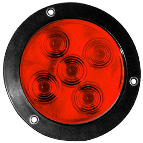 "4"" Round Red 5 LED Stop Turn Tail Light w/ Black Bezel 3 Prong Plug"
