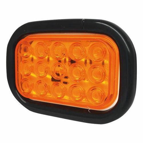 RECTANGULAR LIGHT 15 LED WITH GROMMET, AMBER LIGHT, 12/24 VOLT. 12/24 VOLT. 8365ATE, 8365A, 8365ATE12/24, 8365ATE