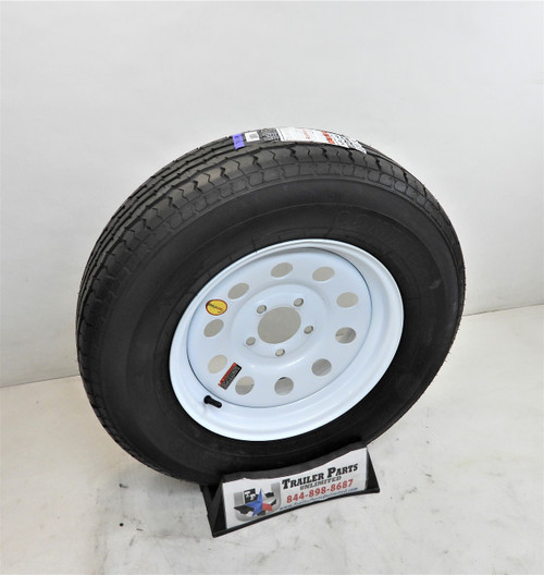 "ST205/75R15 8-Ply Contender Radial Tire on White Mod Wheel 5x4.5"" NO STRIPES"