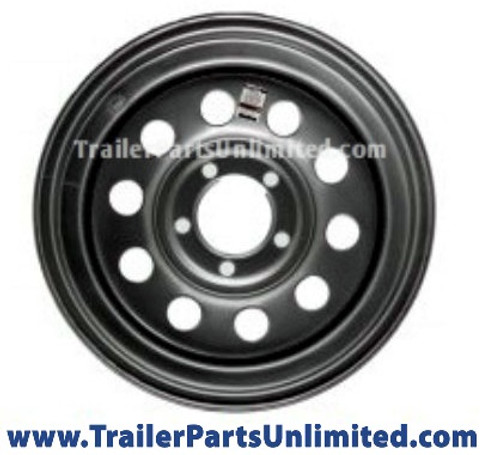 "15"" trailer wheel. Silver mod steel wheel 5 lug on 5"" bolt pattern"