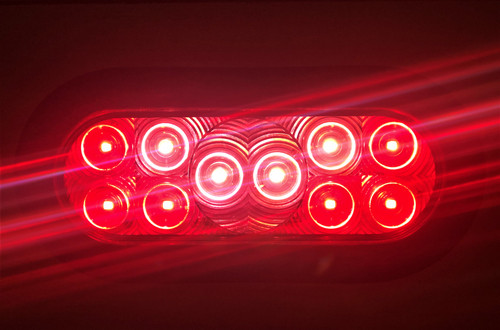 6'' Oval Red 10 LED  Stop, Turn, Tail  Light w/ 3 Prong Plug  & Rubber Grommet
