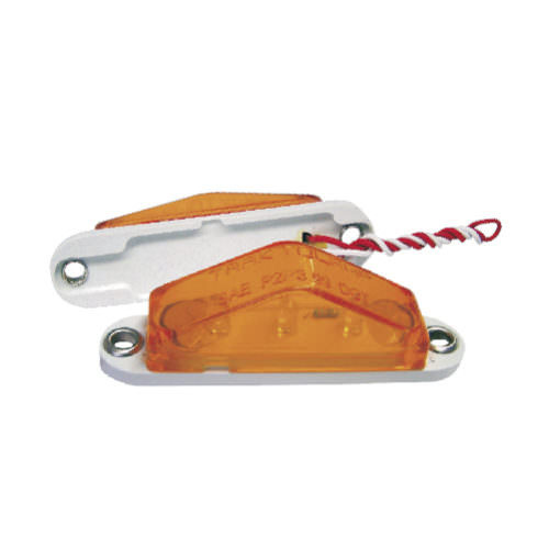 "3"" Triangle Amber 3 LED Marker Clearance Light w/ White Base"