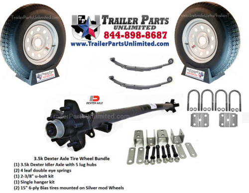 "Dexter 3.5k Axle 5-lug , pair of 1.75k double eye springs, 1 u bolt kit, 1 single hanger kit for double eye springs, pair of 15"" ST205/75D15 6-ply bias trailer tires mounted on 5 lug wheels"