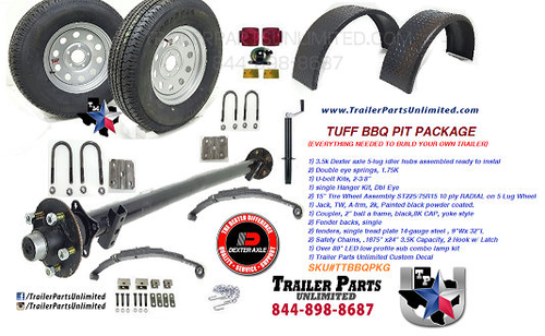 "TUFF BBQ TRAILER PACKAGE KIT. EVERYTHING YOU NEED TO BUILD YOUR OWN BBQ TRAILER. 3.5K DEXTER AXLE, 15"" 10 PLY RADIAL TIRES AND WHEELS, LED LIGHT KIT, TRAILER JACK, A FRAME COUPLER, SAFETY CHAINS, DIAMOND PLATE FENDERS"