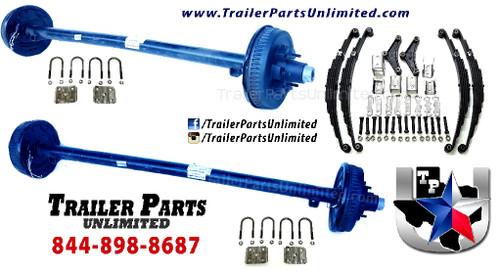 "Tandem axle trailer set includes (2) Dexter 5200 lbs Electric Brake Trailer Axles, (4) 2900 lbs capacity double eye 5 leaf  trailer springs, (2) 3"" u bolt kits, (1)  Tandem Hanger Kit for double eye springs"