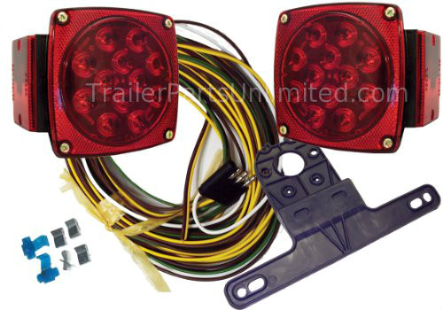 "J-24245-NC Universal LED Submersible Marine & Boat Trailer Light Kit For Under 80"" Wide Trailers. LED waterproof rear lighting kit for under 80"" wide Trailers & Boat Trailers. Submersible tail lights have stainless hardware, gasket lenses and 48"" pre-attached leads for use on regular trailers and marine boat trailers. The curbside (right) lamp has 14 diodes. Streetside (left) light has 18 diodes, including license lamp diodes. 2-Bolt Industry-standard mounting"