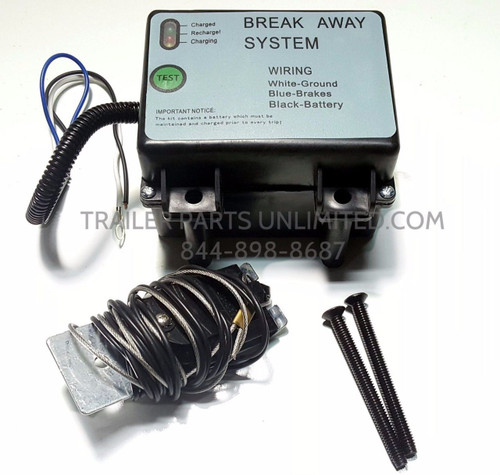 TRAILER BREAK A WAY KIT WITH CHARGER TEST LIGHT BOLTS DOT APPROVED