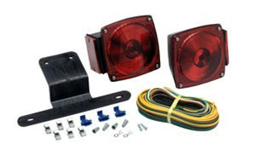 "Optronics TL-29BK Trailer Light Kit Screw-on lens, easy to change bulbs Stud mount on 2"" centers Grounds through mounting studs Shockproof socket guarantees long bulb life Acrylic lens, corrosion proof plastic housing Passenger side light is 6-function: stop, turn, tail, rear reflex, side marker, and side reflex Driver side light also includes license illuminator 25ft split wire harness with 4 wire flat connector"