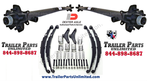 2) 3500 lbs Dexter Trailer Axles 5-lug fully assembled with all hardware needed to mount to trailer