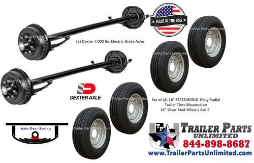 14K Tandem Axle Trailer Tire Wheel Bundle