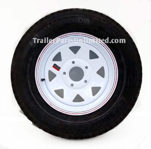 "ST205/75D15 6-ply TexStar Bias Trailer Tire Mounted on 15"" White spoke Steel Wagon Wheel 5 lug on 5"" bolt pattern"