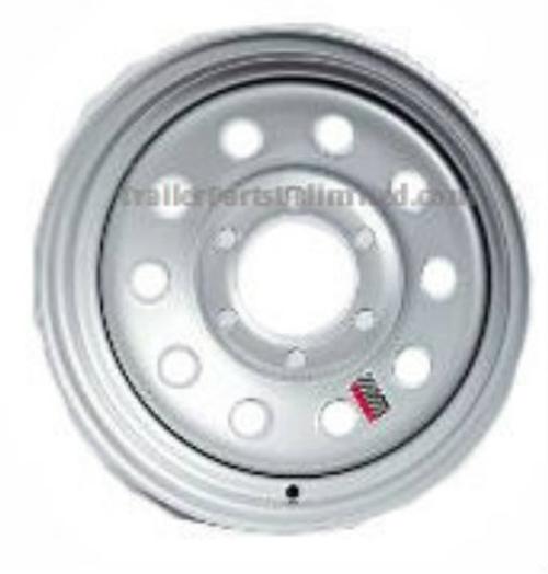 "16"" Trailer Wheel. 16"" Silver mod 6 lug wheel. 16"" Silver Modular Steel Trailer Wheel 6x5.5"" Bolt Pattern."