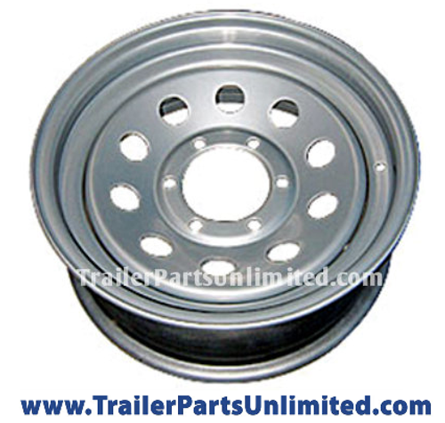 "16"" 6 lug wheel, 16"" x 6"" Silver Mod Trailer Wheel 6x5.5"", 16"" Steel Trailer Silver Wheel 6 lug on 5.5"" bolt pattern"