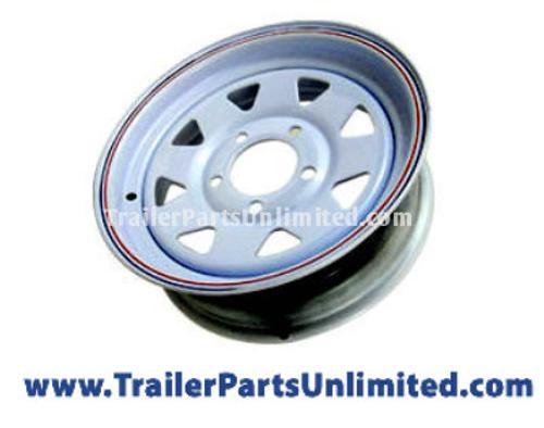 """15"""" White Spoke Steel Trailer Wheel 5x5"""" Bolt Pattern"""