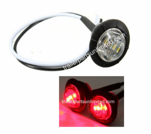 "Mini Red 3/4"" round side 3 LED marker trailer bullet clearance license clear light with rubber base."