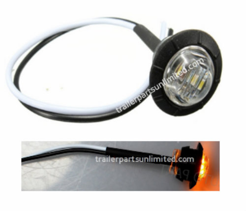 "Mini amber 3/4"" round side 3 LED marker trailer bullet clearance license clear light with rubber base."