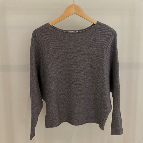 Ribbed Knitted Bat Wing Jumper