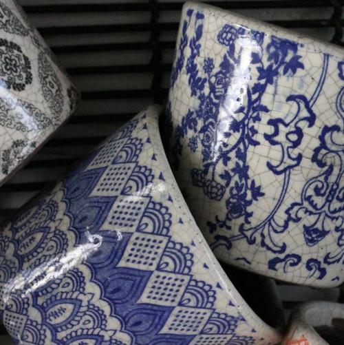 Blue Floral Costas Pot