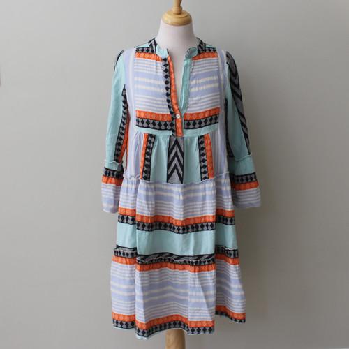 Short Aztec Tribal Dress: Orange, Black & Blue