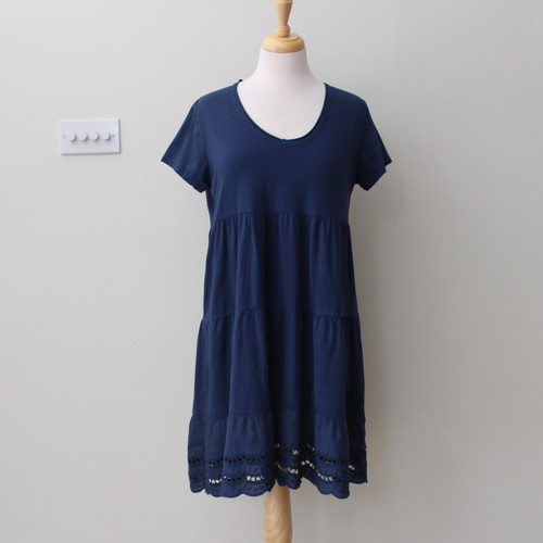 Short Dress with Embroidered Hem