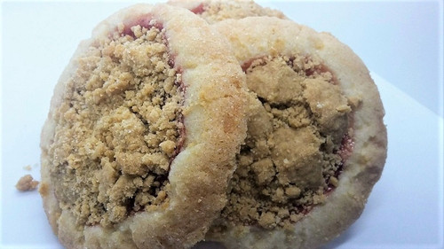 A soft and chewy sugar cookie stuffed with pie fillings and baked with a crunchy streusel topping.