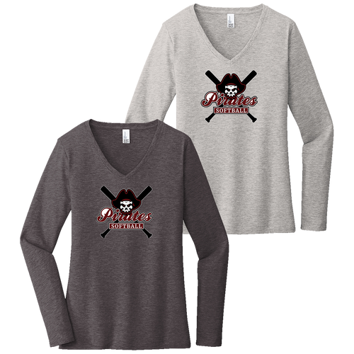 Rocky River Softball Ladies LS V-Neck Tee (F014)