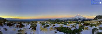 Winter shot of Taranaki from the top of the Pouakai ranges